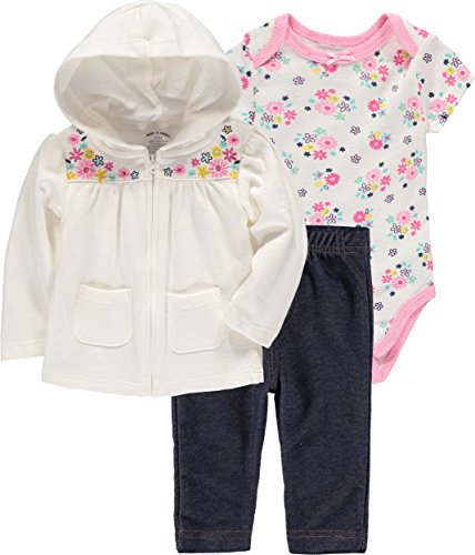 Conjunto de 3 peças de calça com capuz para bebês meninos e meninas Wan-A-Beez, Floral, 24 Months