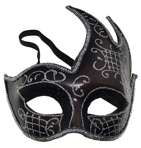 VENTURA TRADING MX5 Negro Máscara de la Mascarada Mascarilla Veneciana Decoración de Plumas Mujer Mascarada Disfraz Fiesta Pelota Paseo