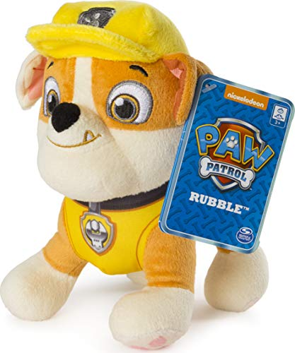 "Paw Patrol – 8"" Rubble Plush Toy, Standing Plush with Stitched Detailing, for Ages 3 and up"