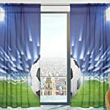Mnsruu Cortina de gasa con diseño de pelota de fútbol para salón, puerta y ventana, 140 x 198 cm, 2 paneles