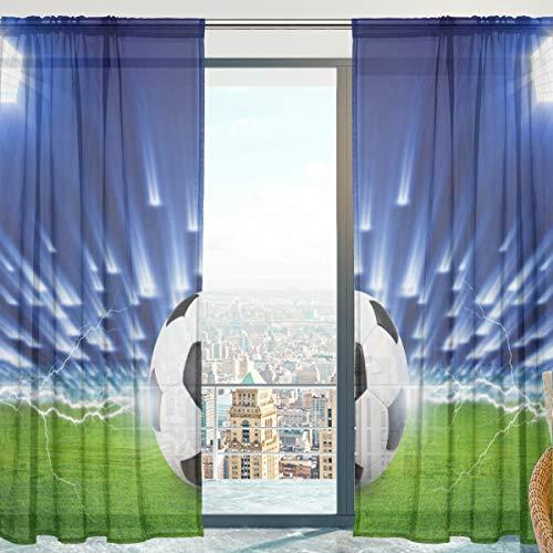 Mnsruu Cortina de Gasa, balón de fútbol, Panel de Cortina Transparente para Ventana de Puerta de salón 140 x 198 cm, 2 Paneles