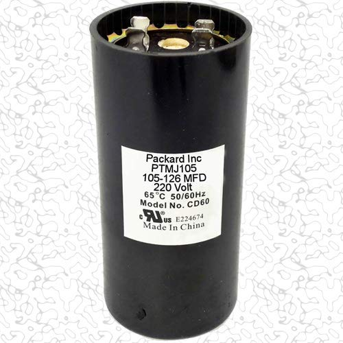 Room Air Conditioner Replacement Partst Packard PTMJ105 Motor Start Capacitor. 105-126 MFD UF / 220-250 VAC