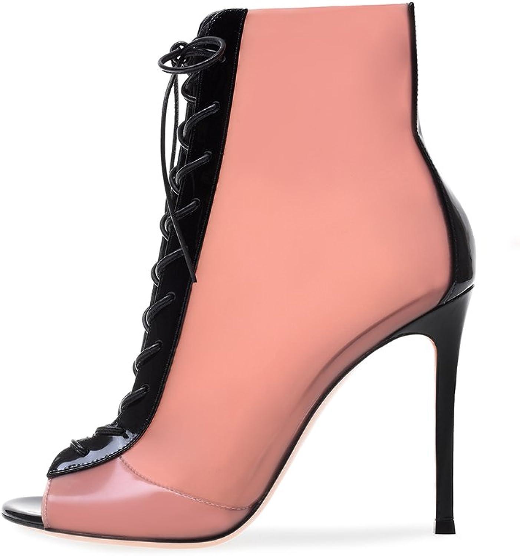Women's PVC Ankle Boots Pink Sandals Fish Mouth High Heel Sandals Fashion Stilettos Open Toe Pump Heeled Sandals(Heel Height  11-13cm)