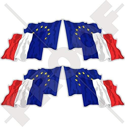 Européenne union-france Waving Flag Paire, eu-fr europe-french 5,1 cm (50 mm) bumper-helmet en vinyle autocollants, Stickers x4 (gauche-droite)