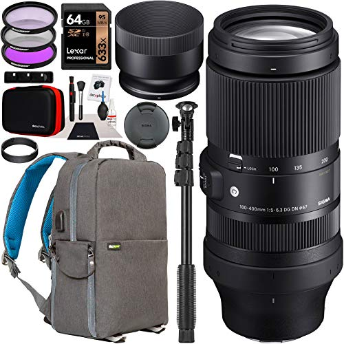Sigma 100-400mm F5-6.3 DG DN OS Contemporary Lens 750965 for Sony E-Mount Full Frame Mirrorless Cameras Bundle w/Deco Gear Photography Backpack Case + Filter Kit + 64GB Card + Monopod + Accessories