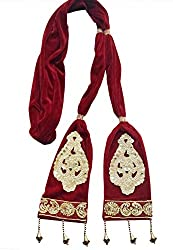 Krypmax Ethnic Velvet Men Sherwani Dupatta Heavy Design - Maroon 2.5 Mtr Length