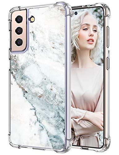 Funda para teléfono móvil Samsung Galaxy S21, funda fina de silicona transparente, Galaxy S21, azul verde mármol, funda protectora 360 grados, suave, antigolpes, TPU, funda Samsung S21 de 6,2 pulgadas