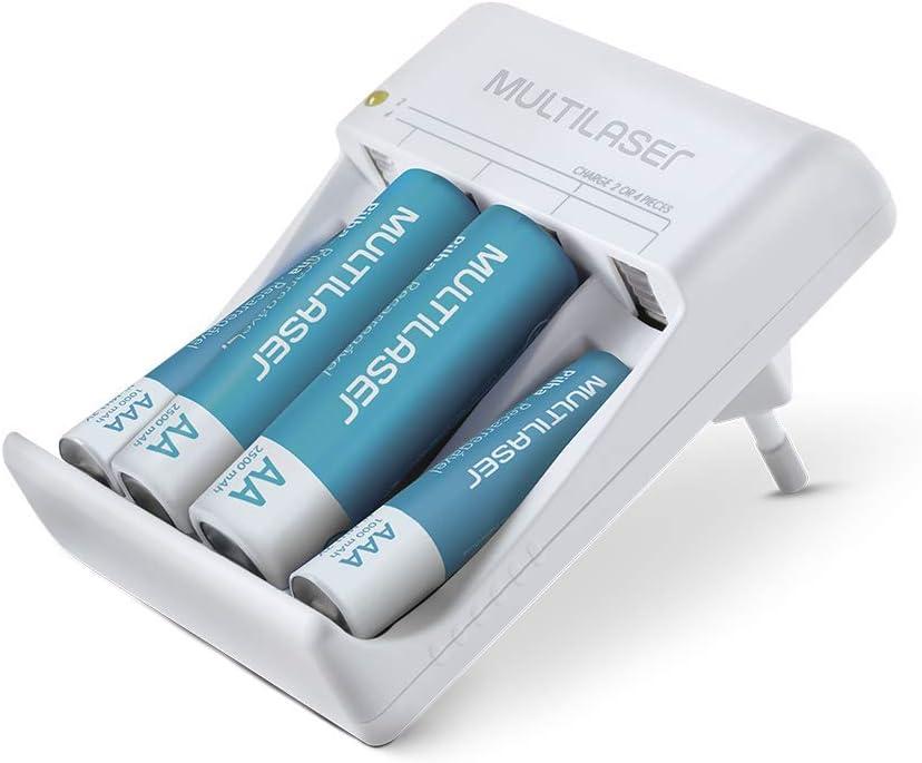 Carregador de Pilhas Multilaser AA/AAA + 2 Pilhas AA 2500Mah + 2 Pilhas AAA 1000Mah – CB045, turquoise, 83 x 59 x 55mm