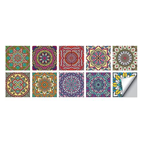 ABCABC Azulejo de Cristal Autoadhesivo 3D Etiqueta de Pared Cocina Fondo de Pantalla Murales Pegatinas Impermeables para Sala de Estar Decoración de baño (Color : HT23, Size : 10cmX10cmX10pcs)