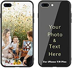 Custom iPhone7 Plus iPhone8 Plus Case, Slim Soft TPU Base + Tempered Glass Back Personalized Cover, Design Your Own Phone Cases with Picture Photo Name Quote for iPhone7 Plus iPhone8 Plus