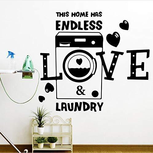 Dieses Haus Hat Endlose Liebe Und Wäsche Herz Wandaufkleber Waschraum Wäscherei Familie Liebe Zitat Wandtattoo Vinyl Home Decor 56X51Cm