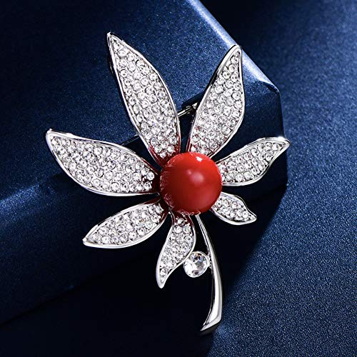 Leaf Luxe Maple Crystal Pearl Broche Pin Voor Vrouwen Ladies, High-End Fashion Broches, Trui Jurk Coat Shirt Sieraden Accessoires, Unique Gifts for Her