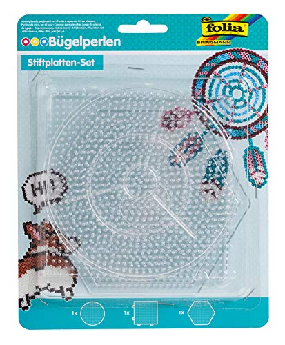 folia 73214 - Bügelperlen Stiftplatten Set Basic groß, 3 transparente Steckplatten für Bügelperlen mit einem Durchmesser von 5 mm, Kreis, Quadrat und Sechseck