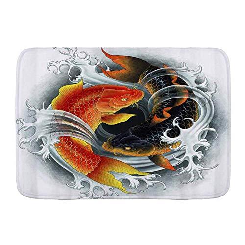 Amanda Walter Tapetes para Puertas, pez Carpa, Cultura asiática Tradicional Koi, Alfombra de baño para Piso de Cocina, Alfombra de 40x60 cm