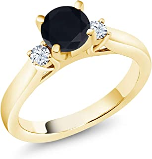 Gem Stone King 1.60 Ct Black Zirconia White Created Sapphire 18K Yellow Gold Plated Silver Engagement Ring