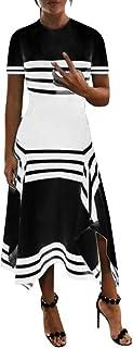 comprar comparacion ReooLy Vestido Informal sin Mangas con Rayas de Las Mujeres Vestido con Cuello Redondo y Vestidos de Fiesta Midi