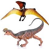 Gemini & Genius 2pcs Dilophosaurus Dinosaur and Tapejara Pterodactyl Figure Realistic Flying Dinosaur Pteranodon Model Pterodactyl Role Play Toys for Kids (Tapejara &Dilophosaurus)