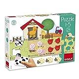 Goula - Puzzle 1-5 - Puzzle de cartón y madera a partir de 2 años