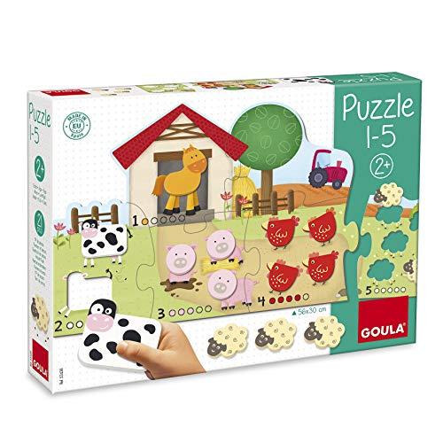 Goula, Puzzle 1-5, Puzzle de cartón y madera a partir de 2 años