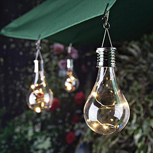 Hergon Hängende Solar-LED-Glühbirne, kabellos, drehbar, wasserdicht, für den Außenbereich, Garten, Camping, Baumdekoration