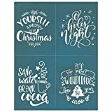 DIY Silk Screen Printing Stencil,'Christmas Quotes Collection' Holiday Design for Fabric, Wood, Ceramic, T-Shirts, Chalkboards, and More! (#284)