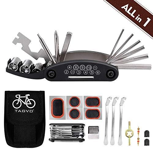 Tagvo Kit de herramientas para bicicleta, 16 en 1 Herramienta multifunción para bicicleta con kit...