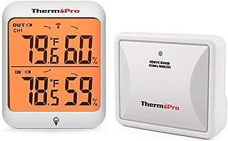 0bb82909e ThermoPro TP63A Termómetro Higrometro para Interior y Exterior  Termoigrometro Digital con Sensor Resistente al Frío e