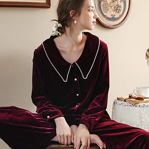 STJDM Bata de Noche,Winter Black Red Women Sleep Pajama Sets...