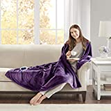 Beautyrest Microlight to Sherpa Reversible Electric Blanket Throw, Adjustable Multi-Level Heat Setting Controller Cozy Living Room Couch, Sofa, Bed, 60x70, Purple