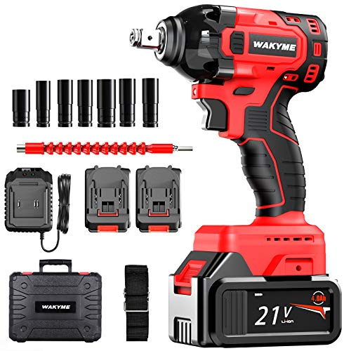 """WAKYME 21V Impact Wrench, 330Nm Electric Wrench Drive 2 * 4000mAh Li-lon Batteries Impact Wrench 1/2""""hex Quick Connector Cordless Ratchet Wrench with Auto-Stop System"""