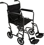 ProBasics Transport Chair Portable Wheelchair - 19-inch Seat, Full-Length Permanent Arms, Swing-Away Foot Rests - Folding Wheelchair for Travel and Transport