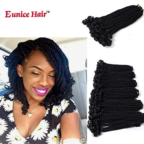 Eunice 6 Packs 12 Inch Black Crochet Hair Braids Short Havana Mambo Twist Crochet Braiding Hair Senegalese Twists Hairstyles For Black Women 20 Strands/Pack (#1B)
