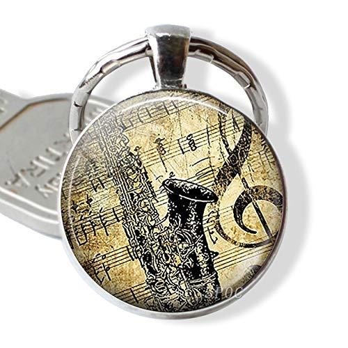 DSBN sleutelhanger gitaar muziek glas hanger gitaar keychain sleutelhanger muziekinstrument sieraden muziekliefhebbers leraar student geschenk maat 11