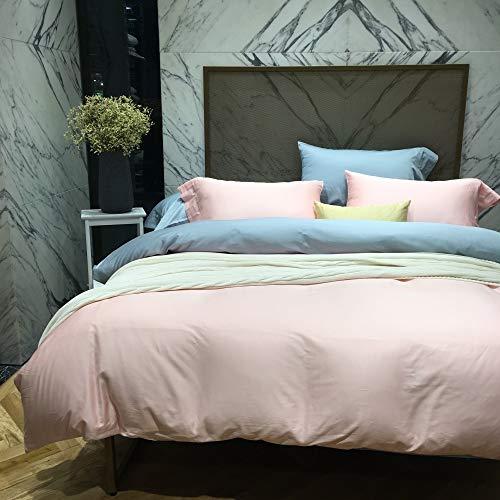 yaonuli Quilt-set van katoen, eenkleurig, 4-delig, van katoen, gesatineerd, eenkleurig van katoen, 2 katoenvezels, poederblauw, bed 1,8 m (6 voeten)