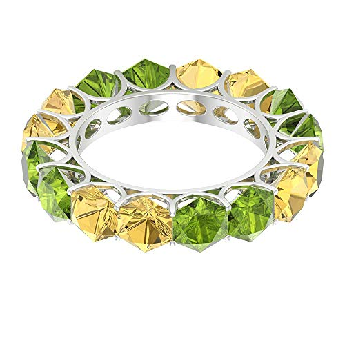 Alianza de eternidad alterna, 4 ct 5 mm peridoto anillo de boda, 4 ct, anillo hexagonal citrino, anillo de apilamiento de novia, anillo de piedra natal agosto, 14K Oro blanco, Size:EU 68