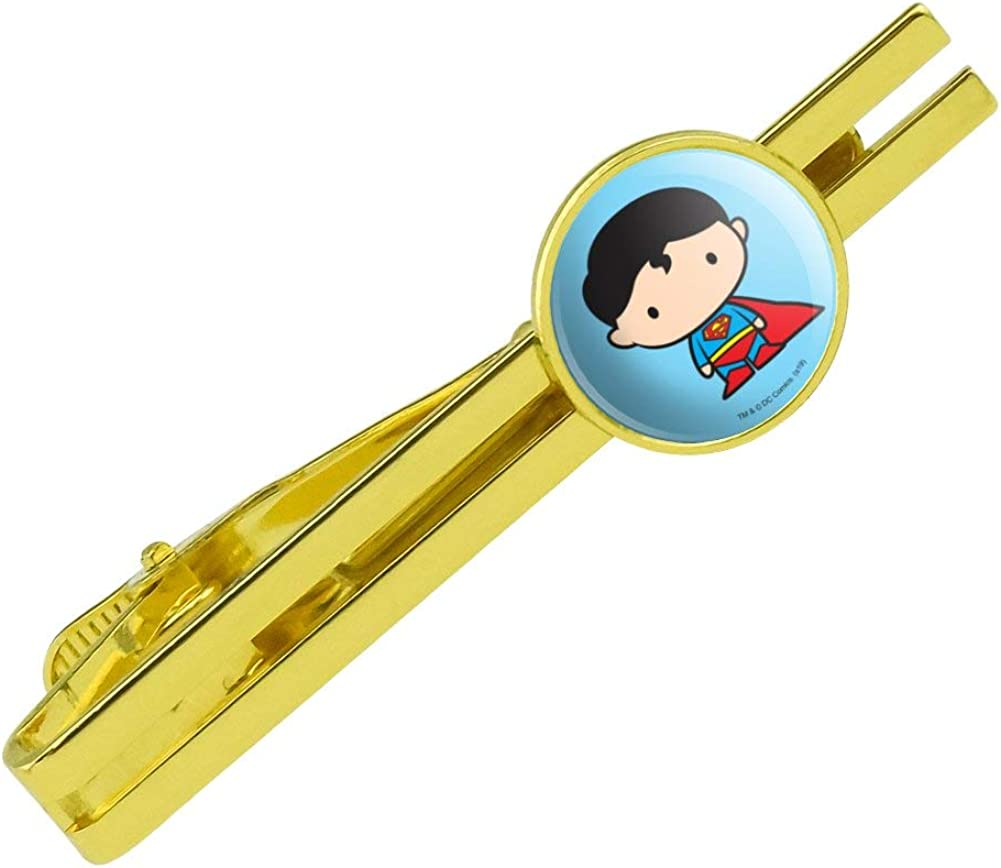 GRAPHICS & MORE Superman Cute Chibi Character Round Tie Bar Clip Clasp Tack Gold Color Plated