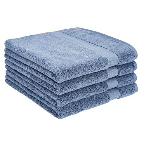 Amazon Basics Dual Performance Bath Towel - 4-Pack, True Blue
