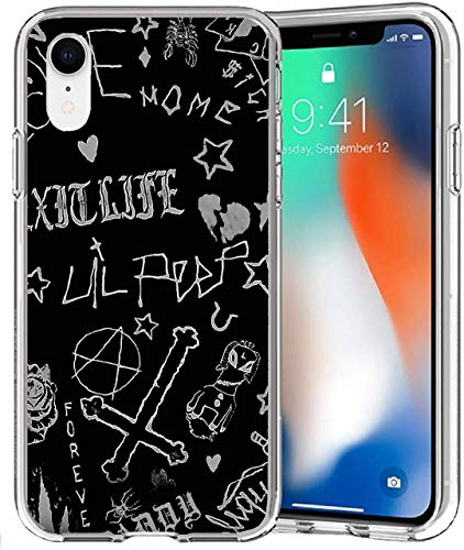 Compatible with iPhone Case Transparent Soft TPU Flexible Corver Case XR Cover Lil Peep Love Lyrics Quote American Singer