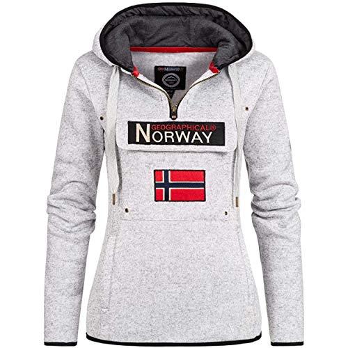 Geographical Norway UPCLASSICA Lady - Sudadera Capucha Bolsillos De Forro Polar Kangaroo - Sudadera De Manga Larga Y Cálida - Sudadera con Capucha Tops Sport (Blanco L)