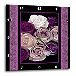 3dRose DPP_29798_1 Dreamy Hues of Purple and Pink Roses with Purple Damask Ribbon Trim Wall Clock, 10 by 10-Inch