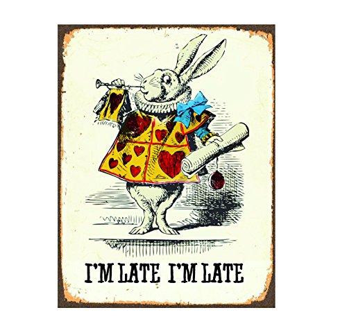 Ecool Alice i underbara kanin I m Late Retro Shabby Chic vintagestil bild metall väggskylt kylskåpsmagnet