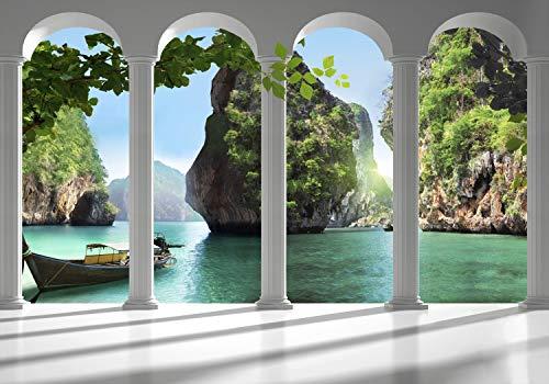 decomonkey Fototapete Meer Landschaft Natur 350x256 cm XL Tapete Fototapeten Vlies Tapeten Vliestapete Wandtapete moderne Wandbild Wand Schlafzimmer Wohnzimmer Thailand