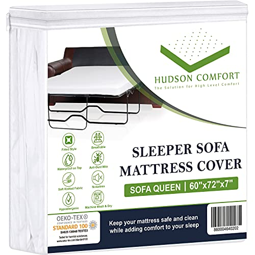 Hudson Comfort Sleeper Sofa Bed Cover, Waterproof On Top, Microfiber Comfortable Fabric, Sofa Mattress Fitted Sheet (Sofa Queen 60x72x7 Inches)