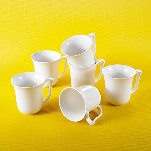 MALACASA, Serie Amparo, 12 TLG. Kaffeeservice Cremeweiß Porzellan Becher Kaffeebecher-Set Bechersets Tassen 4,75 Zoll / 12 * 9,5 * 10cm / 290ml