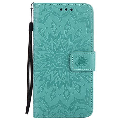 Nancen Compatible with Handyhülle Galaxy A5(2016) Hülle,Galaxy A5(2016) / SM-A510F (5,2 Zoll) Leder Wallet Tasche Brieftasche Schutzhülle, Nancen Prägung Sonnenblume Muster