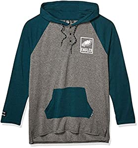 Ultra Game NFL Philadelphia Eagles Mens Fleece Hoodie Pullover Sweatshirt Henley, Team Color, Medium