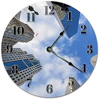 hiusan Modern Worms Eye View On Tall Buildings Wood Wall Clocks Decorative Silent Non Ticking 12