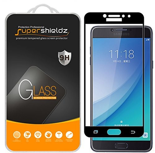 (2 Pack) Supershieldz Designed for Samsung (Galaxy C7 Pro) Tempered Glass Screen Protector, (Full Screen Coverage) Anti Scratch, Bubble Free (Black)