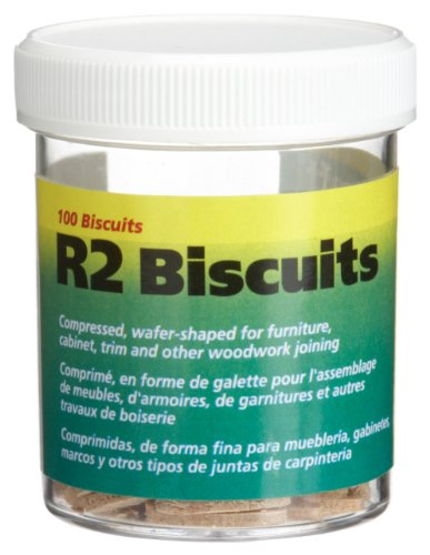 wolfcraft 2994404 Compressed Wafer Shaped Wood Joining Biscuits for Joining Wood Pieces, #R2, 100 Piece Jar