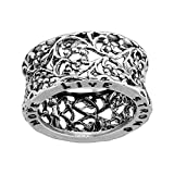 Silpada 'Hope, Live, Strong' Filigree Engraved Band Ring in Sterling Silver, Size 8